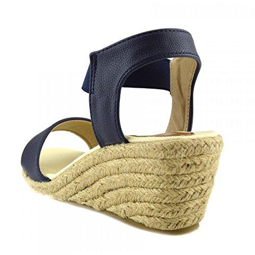 Kick Footwear - Donna Wedge Tacchi Borchiati Espadrille Estate Piattaforma Cinturino Sandali alla schiava Marina