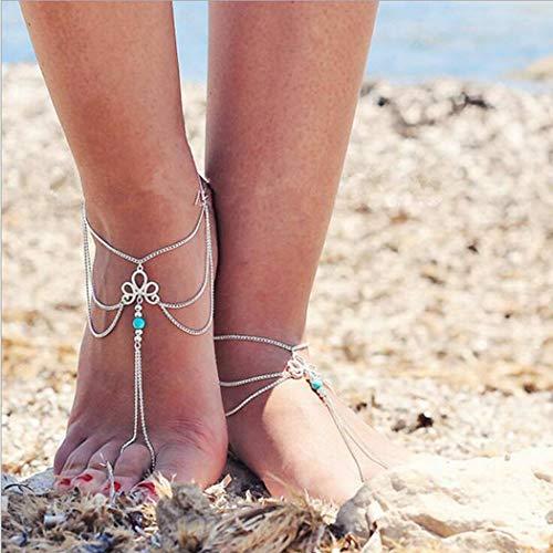 Yean Bohemian Multi Layered Fußkette Blume Türkis Knöchel Armband Strand Fußschmuck Kette für Frauen und Mädchen