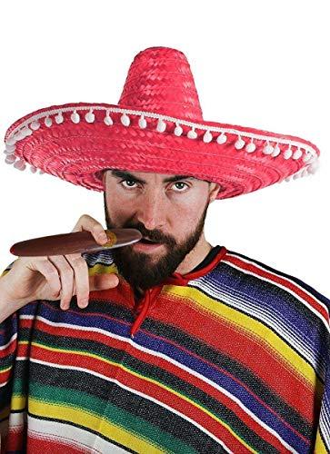 ILOVEFANCYDRESS Mexikaner KOSTÜM VERKLEIDUNG = 1 Poncho + 1 Sombrero IN DER Farbe IHRER Wahl +Plastik ZIGARRE=Fasching Karneval Party Halloween=Unisex =ROTER - Mexiko Tanz Kostüm