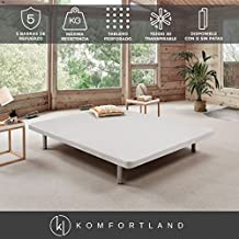 Base tapizada 3D Force de Komfortland Medida 90x200 cm Patas 25 cm - Normales Color Blanco