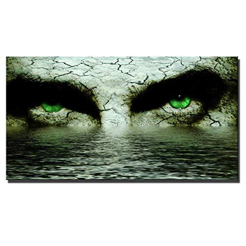 Rjjdd Großes Gesicht Augen Wandkunst Poster Und Drucke Abstraktes Gesicht Augen Mit Wasser Leinwand Gemälde Cuadros Bilder Für Wohnzimmer Wand Öle