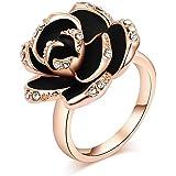 VEDO SHIPIN 18K Rose Gold Plated Black Rose Flower Ring Shining CZ Simulated Diamond Ring   Vintage Rose Gold Ring   3D Rose