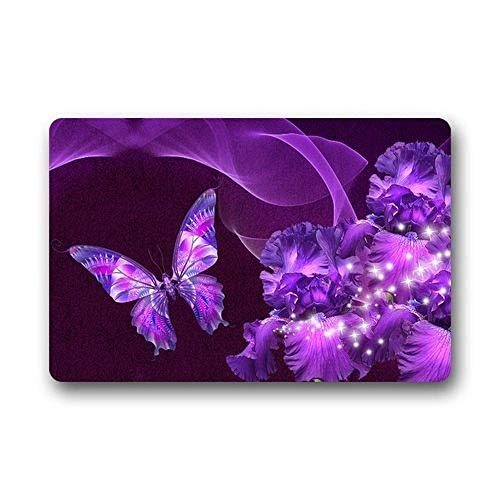 ZHIZIQIU Door Mat Purple Butterfly Flower Non Slip Outdoor Indoor Bathroom Kitchen Decor Rug Mat Welcome Doormat (23.6