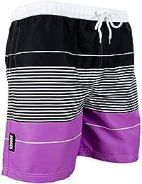 GUGGEN MOUNTAIN Maillot de bain pour homme de materiau high-tech slip shorts raye *High Quality Print*
