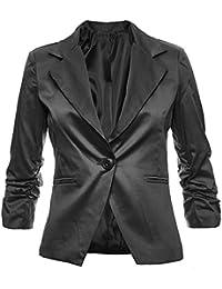 Eleganter Damenblazer Blazer Baumwolle Jäckchen Business Freizeit Party Jacke in 26 Farben 36 38 40 42