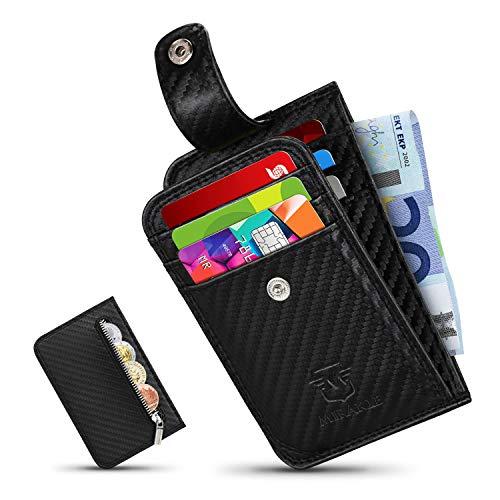 Mirakle Geldbeutel Herren klein, Ausweis- und Kreditkartenetui Kohlefaser mit Münzfach & RFID-Schutz, Geldbörse Kleiner Dünner Praktischer, Brieftasche, Portemonnaie,7 Kartenfächern, Geschenkbox
