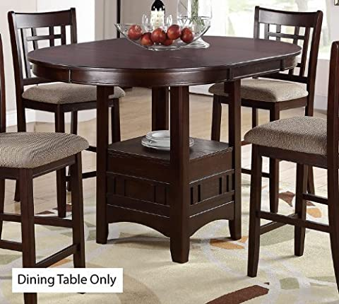 Counter Height Table in Dark Rosy Brown Finish by Poundex
