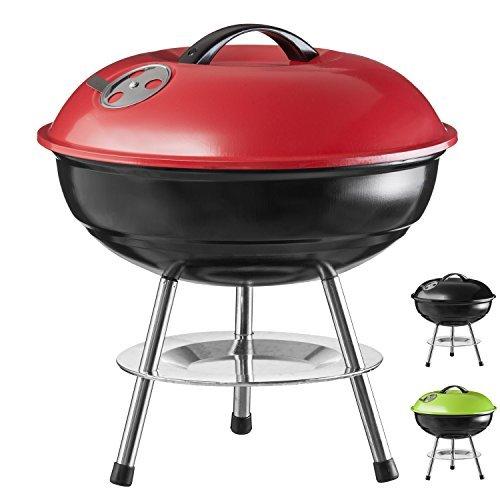 Goods & Gadgets Micro Barbecue à charbon compact en acier inoxydable émaillé 40 cm rouge