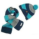 Set de sombrero y bufanda para niños Fablcrew hecha con punto de lana de ganchillo para otoño invierno azul azul Talla:talla única