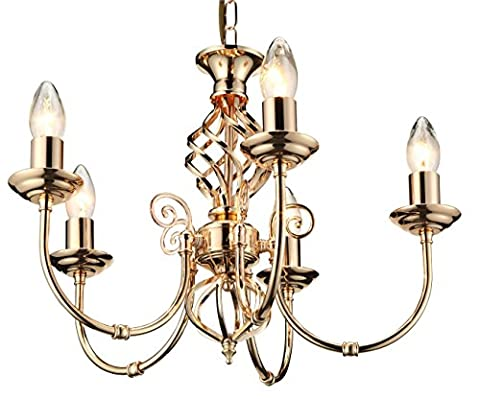 Malaga 5 Light Classic Knot Twist Ceiling Light French Gold