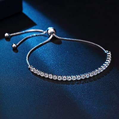 J.Fée Adjustable Silver Plated Bangle Bracelet 5A Cubic Zirconia - A Little Bangle of The Goddess Great Gift for Women Girl