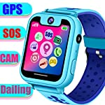 TURNMEON Smart Watch Phone For Kids Boys Girls GPS Children Smartwatch Holiday Birthday Gifts With SOS SIM Calls Camera Anti Lost Wristband Bracelet Wrist Watch Blue