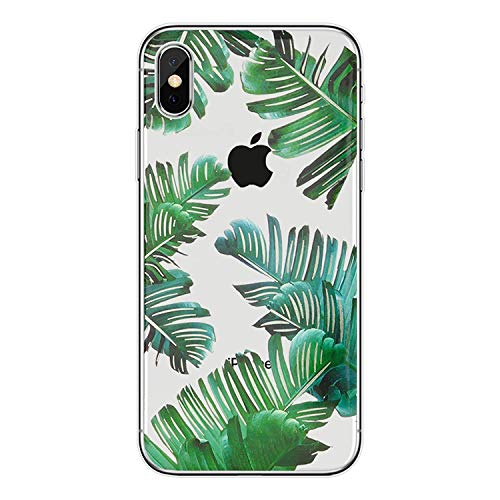 Schutzhülle für iPhone X Tropical Palm Leaves Flower Soft Gel TPU Slim Silikon Case, for iPhone XS Max (6.5inch), 01 -
