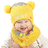 Hoxin Infant Baby Winter Fluffy Ball Ear Knitted Hat Cute Button Scarf (1 Set) (Gelb)