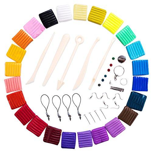 Trekoo Polymer Ton 24-Farben Clay Plastilin Backofen Backen Weichen DIY Ton Moulding Prozess Spielzeug Set Kinderknete Beste Geschenke Weihnachtsgeschenke Lernspielzeug (24)
