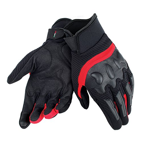 Dainese-AIR FRAME UNISEX Guantes, Negro/Rojo, Talla L