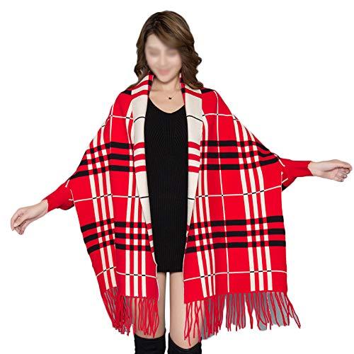 Frauen Plaid Warm Schal Wrap Schals Poncho Mode Quaste Lange übergroßen Schal Cape Strick Cardigans Geschenk,Red-190 * 70CM -