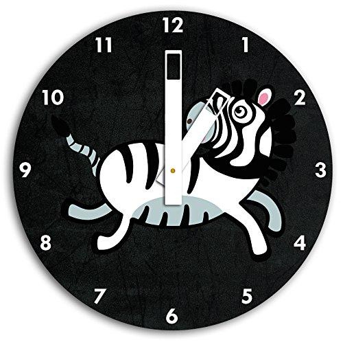 Mignon Zebra Noir, horloge murale diamètre 30 cm avec aiguilles et cadran carrés blancs, article décoratif, horloge design, composite alu très belle pour le séjour, la chambre d'enfant, le bureau