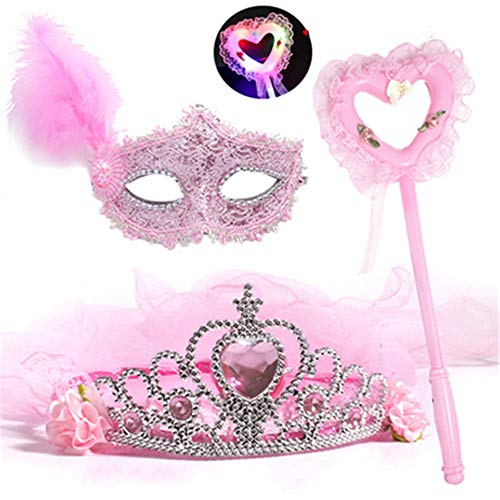 Halloween Girl Funny Kostüm - ZjkMr Halloween Kindermaske Frauen Prom Princess Girl Crown Veil Festliche Party Dress Up Makeup Maske Halbes Gesicht + Glow Veil + Glowing Lollipop + Princess Mask (3 Farben
