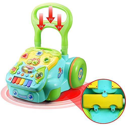 Baby Walker Sit-To-Stand Learning Walker Toy Centro De Actividades Música Y Luz Altura Ajustable Gratis Aumento De Peso Anti-Vuelco Trolley con Canasta De Almacenamiento Adecuado para 6 Meses +,B
