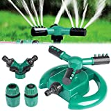 Lawn Sprinkler Yokunat 360° Automatico Spruzzatore da Giardino Acqua Irrigatore con 3 Bracci (Luna)