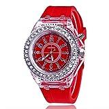 elegantstunning Studenten LED Silikon Diamant Stil Armbanduhr digitale Skala Quarz Uhren Armbanduhr rot