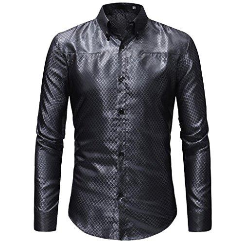 MRULIC Herren Gestreiftes Herrenhemd Langarm Button-Down T-Shirt Top ()