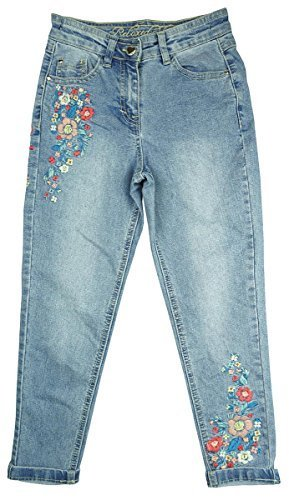 Girls Embroidered Floral Detail Skinny Relaxed Fit Denim Jeans sizes from 4 to 14 Years