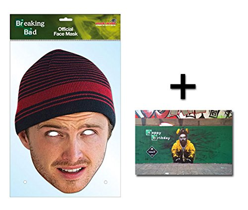 Jesse Pinkman Official Breaking Bad Single Karte Partei Gesichtsmasken (Maske) Enthält 6X4 (15X10Cm) starfoto (Walter White Kostüm Uk)