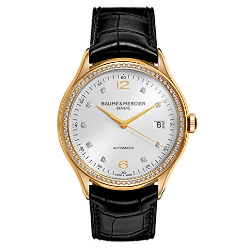 Baume & Mercier Clifton Diamond 30 mm da uomo in pelle Band orologio automatico 10194