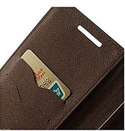 SCHOFIC Premium Fancy Wallet Diary Faux Leather Mobile Flip Case Cover [Pouch] with Card Slots [POCKETS] , Stand View and Magnetic Strap [LOCKING] for HTC Desire 626 / 626 G Plus -Brown