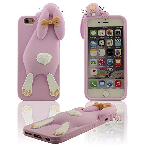 """Bella Carino Piccolo Coniglio Design Serie 3D Modellismo Vari colori Morbida Premio Silicone Gel Protective Case per iPhone 6S / iPhone 6 4.7 Pollici (iPhone 6 Plus 5.5"""" non adatto) Lilla"""