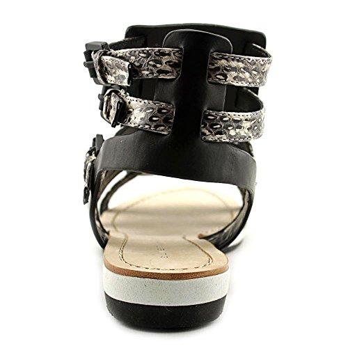 Elie Tahari Crete Cuir Sandales Gladiateur Black-White-Black