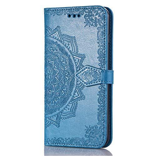 QPOLLY Kompatibel mit Huawei P30 Hülle PU Leder Tasche Brieftasche Handyhülle Mandala Blumen Muster Ledertasche Flip Hülle Schutzhülle mit Ständer Kartenhalter für Huawei P30,Blau