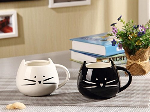 comprare on line Cisixin 300ml gatto Ceramica carina coppa, Tazza da caffè in ceramica, innovativi Cat modello Cup(Nero) prezzo