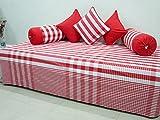 #9: AURAVE Red check Cotton Diwan Set (6 pcs)