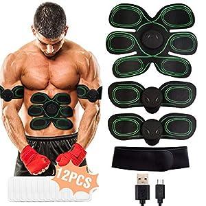 WiMiUS EMS Elektrische Muskelstimulation, USB Wiederaufladbar EMS Trainingsgerät für Arm Bauch Beine Bizeps Trizeps, Herren Damen EMS Bauchmuskeltrainer 8 Modi & 10 Funktionen, Gel Pad 12PCS