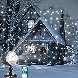 LED-Schneefall-Licht-Fernbedienung Weihnachtsschnee-fallende Nacht-Projektor-Licht-weiße Schneeflocke flirrt drehenden Scheinwerfer-im Freien Innenlandschafts-dekorative Beleuchtung