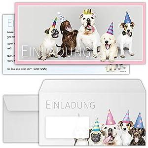 beriluDesign Einladungskarten Hunde zum Geburtstag für Mädchen Jungen Kinder oder auch Erwachsene - Einladungen Kindergeburtstag Party mit Umschlägen