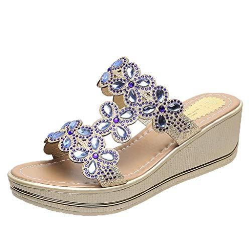 UOWEG Wedges Sandalen für Damen Böhmen Crystal Wedges Thick Peep Toe atmungsaktive Sandalen Hausschuhe Schuhe Faux Peep Toe
