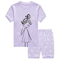 Little Sorrel Girls Shorty Pink Elephants Hearts Pajama Sleepwear Short Sleeved 2-7 years (3T(2-3 Years), 1-Purple)