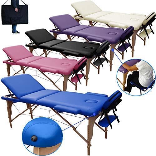 lettino massaggio classico 3 zone in legno dimensione 195 x 70 cm - lettini per da massaggi portatili pieghevoli - pannello reiki - angoli arrotondati e rinforzati - nuovo - fisioterapia fisioterapista tattoo tatuaggi relax - blu