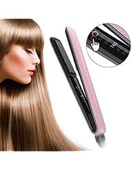 Haarglätter, SUMLIFE Keramik Turmalin Glätteisen mit LED Touch-Schalter Digitalem Display Profi MCH Haarglätter und Lockenstab in Einem, Rosa