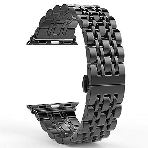 Apple Watch Bracelet Série 1/Série 2,PUGO TOP bracelet à montre en acier inoxydable en acier inoxydable 316L avec design classique 7 lame et fermoir papillon pour Apple Watch Sport (42mm, Noir)