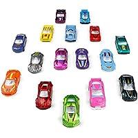 TONZE Voiture Enfant Petite Voiture Miniature Metal Vehicules Lot Voiture de 16 Pièces Jouet Garcon 3 Ans 4 Ans 5 Ans