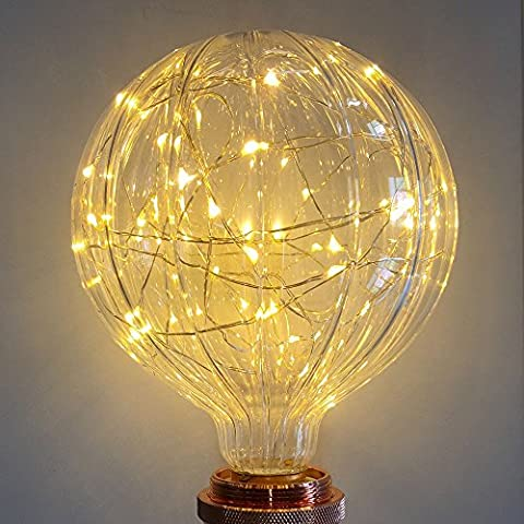 Lampe décorative ampoules, Xinrong Fil de cuivre de ciel étoilé ampoules E272W d'économie d'énergie rétro Vieux Mode Edison Ampoule d'éclairage d'intérieur Home Décoration de pendentif, doux et chaud Blanc Glow, G125 pumpkin, E27 2.0 wattsW 240.0 voltsV