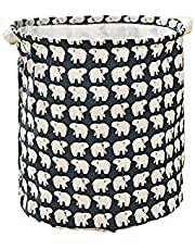 Kids Mandi Printed Canvas Round Laundry Bag, Foldable Laundry Basket | Collapsible Storage Baskets for Toys, Clothes