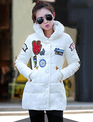 GS~LY donna bianco solido rivestimento imbottito,Street chic