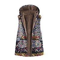 DEELIN Women Sleeveless Tops Warm Plus Size Outwear Floral Print Hooded Plush Zip Pockets Cute Vintage Oversized Winter Coats Vest Gilet Waistcoat(Blue,UK-14,CN-XL)