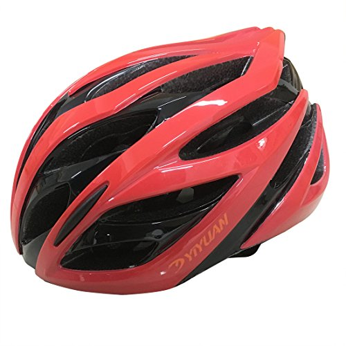 Fahrradhelm, Erwachsener Fahrrad-Sturzhelm-Fahrrad-Sturzhelm-Reithelm Road, Mountainbike Helm, Rot, Grün Weiss Farbe, M(54-58cm), in-Mold, Y-38 (Rot)